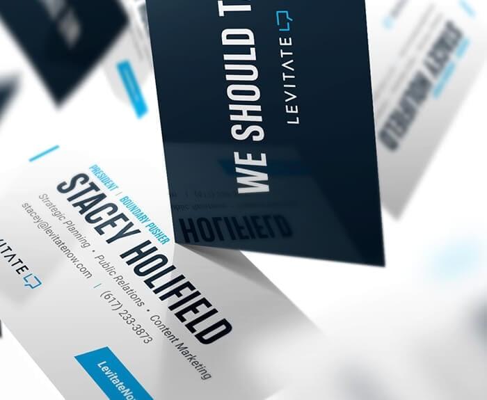 Levitate-Strategic-Communications_Public-Relations_PR_Logo_Content-Marketing_Promo-Material_Mockup_Professional_Business-Cards_Designs_Closeup