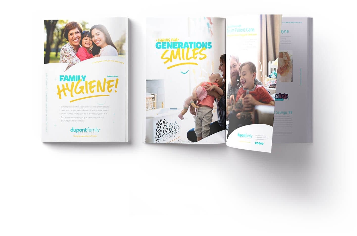 Dupont-Family-Dentistry_Logo_Cosmetic-General_Dentist_Fort-Wayne-Indiana_Dr-Diehl_Magazine Mockup_Family-Hygiene_Caring-for-Generations-of-Smiles
