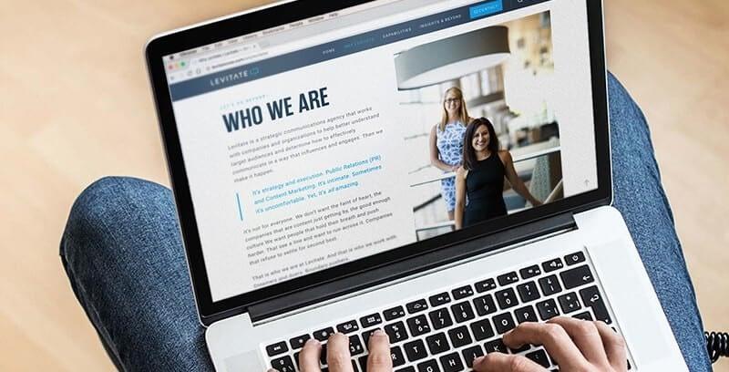 Levitate-Strategic-Communications_Public-Relations_PR_Content-Marketing_Macbook_About-Page_Website_Mockup